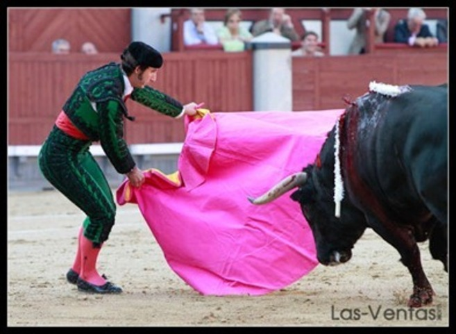 Javier Ambel lidia a un toro en Madrid