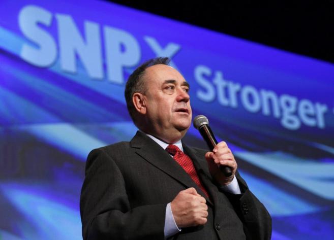 El primer ministro escocés Alex Salmond, durante su discurso de hoy,...