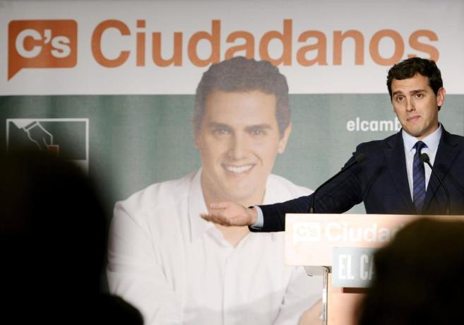 Albert Rivera, durante un acto de campaña de las elecciones de...