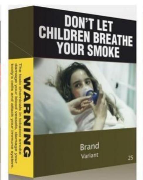 Advertencia sobre los riesgos para los niños en una cajetilla de...