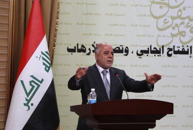 El primer ministro iraquí, Haidar al Abadi, durante una rueda de...