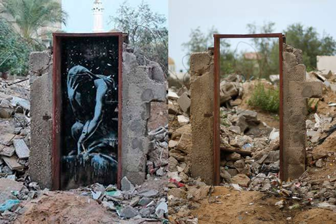 El mural que pintó Banksy y el marco de la puerta sin él.