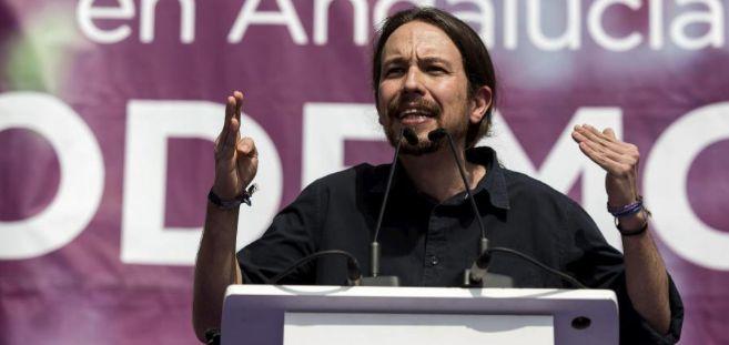 El líder de Podemos, Pablo Iglesias, durante un Málaga en la...
