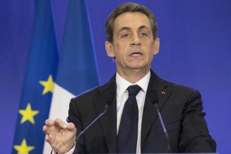 Sarkozy, durante una rueda de prensa celebrada en la sede de su...