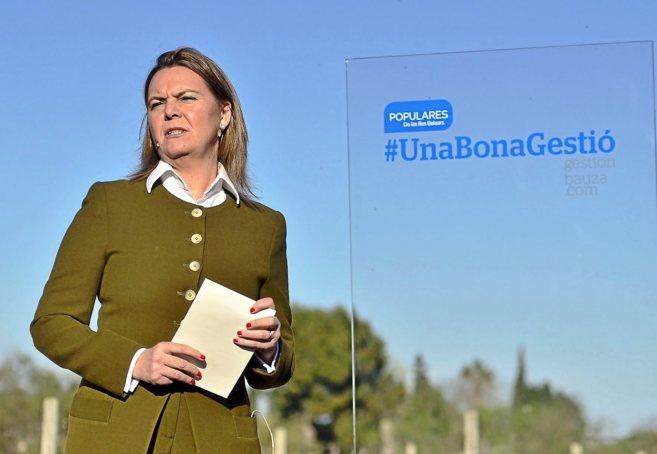 La presidenta del Consell de Mallorca, Maria Salom, en plena campaña...