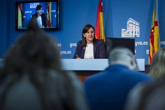 María José Català, en la rueda de prensa posterior al pleno del...