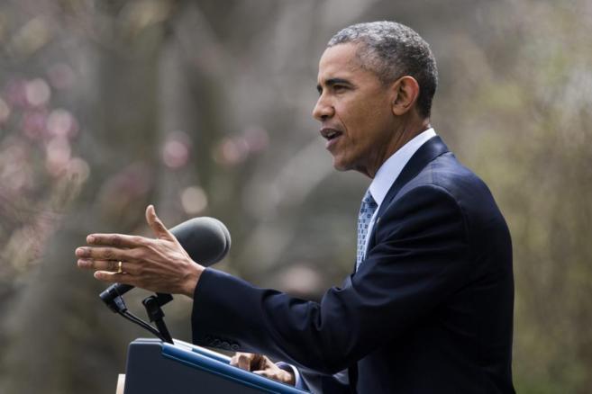 El presidente Barack Obama durante su comparecencia de hoy, en la Casa...