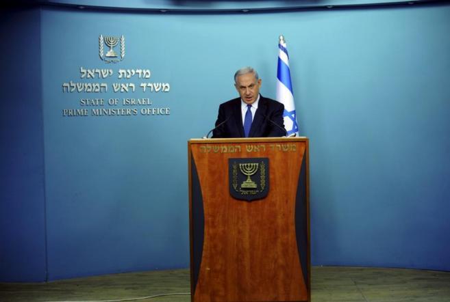 El primer ministro Benjamin Netanyahu durante una intervención ante...