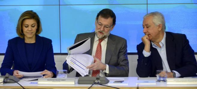 Cospedal, Rajoy y Arenas en la reunión del Comité Ejecutivo Nacional...