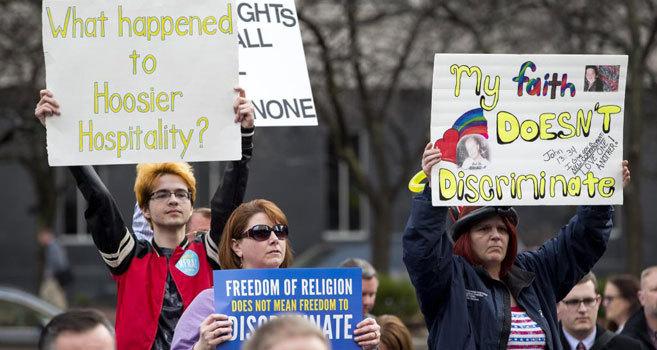 Protestas en Indianápolis contra la ley de 'libertad religiosa'