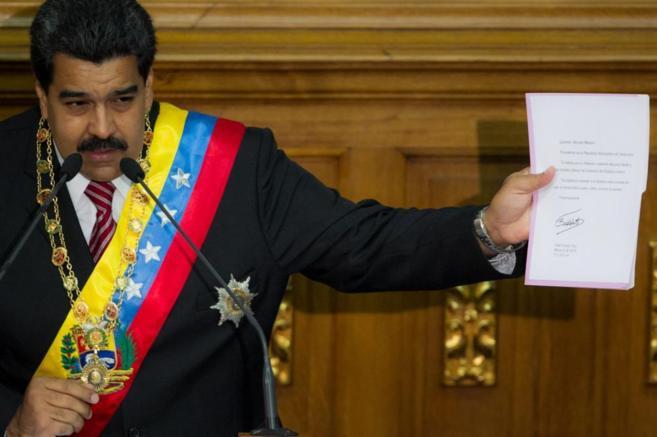 El presidente venezolano, Nicolás Maduro, en la Asamblea Nacional de...