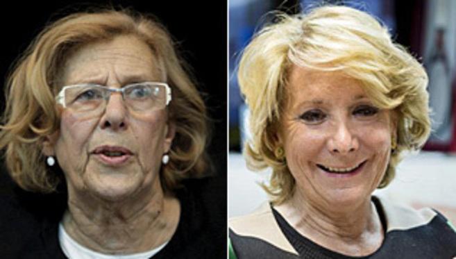 Manuela Carmena (izq.) y Esperanza Aguirre.