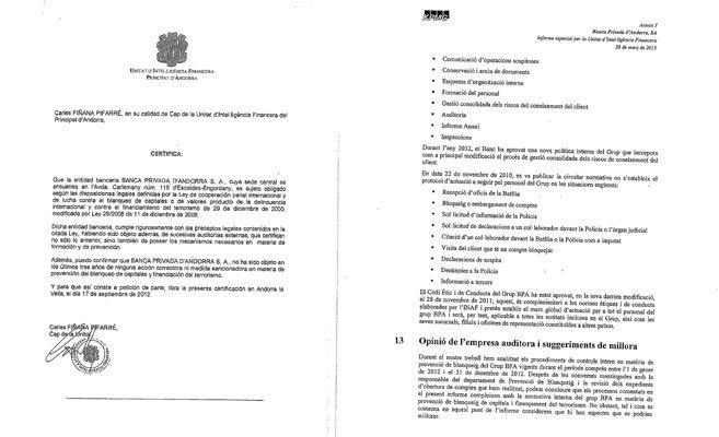 Certificados sobre BPA emitidos por la Unidad de Inteligencia...