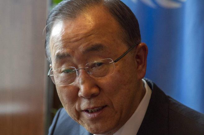 El secretario general de la ONU, Ban Ki-moon, durante la entrevista...