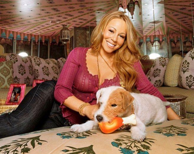 La cantante, con su perrito Jack.