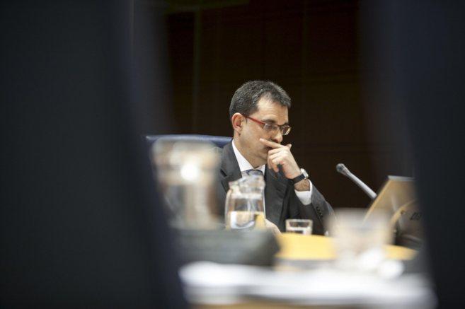 El ex alcalde Eneko Arruebarrena durante su comparecencia en la...