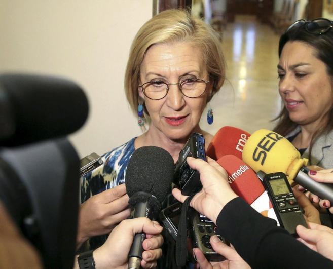 Rosa Díez, el pasado martes, a su llegada a la reunión de la Junta...