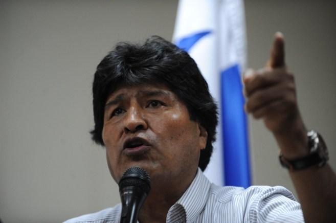 El presidente boliviano, Evo Morales, da un discurso en la Universidad...