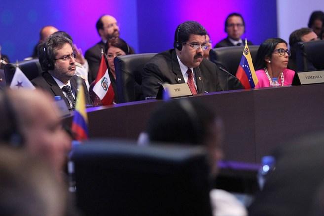 El presidente de Venezuela, Nicolás Maduro, durante la intervención...
