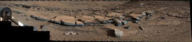 Rocas interpretadas como pequeños deltas en un lago superficial de...