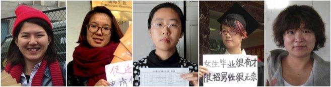 Las mujeres activistas Li Tingting, Wei Tingting, Wang Hombre, Zheng...