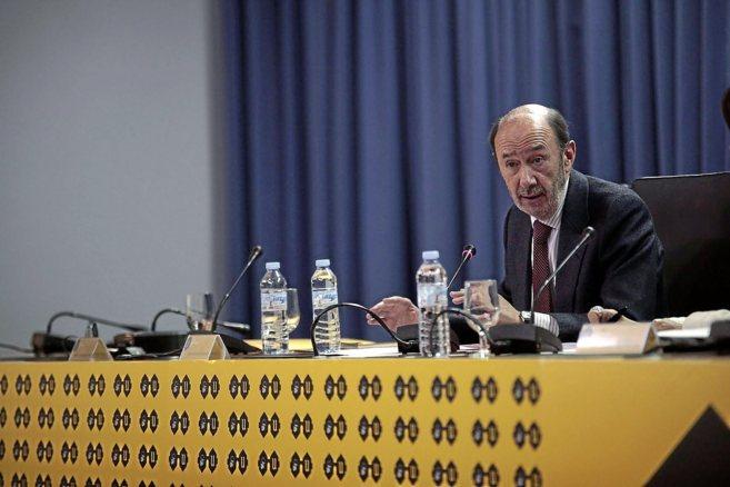 Alfredo Pérez Rubalcaba, durante su conferencia en el ciclo Factor U...