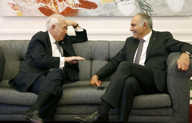 José Manuel García-Margallo y Salahedín Mezuar, el lunes durante la...