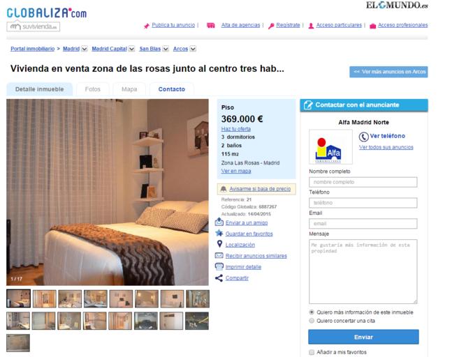 Imagen de un anuncio de un piso en venta en la página web...