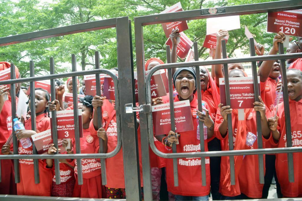 Manifestación en Abuja, Nigeria, al cumplirse el primer año de...