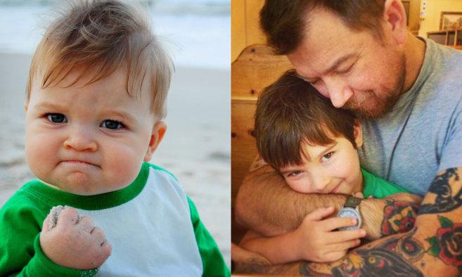 Ocho años han pasado entre la fotografía el bebé triunfante (arena...