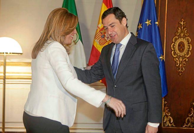 Susana Díaz y Juan Manuel Moreno, en San Telmo tras las pasadas...