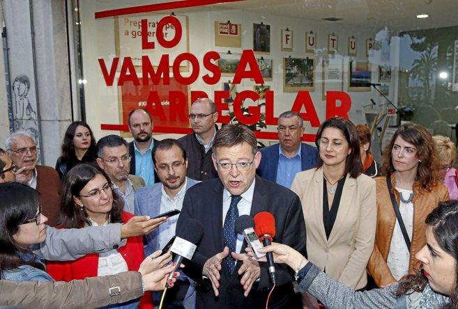Ximo Puig, este miércoles en la sede del PSPV-PSOE  en Alicante