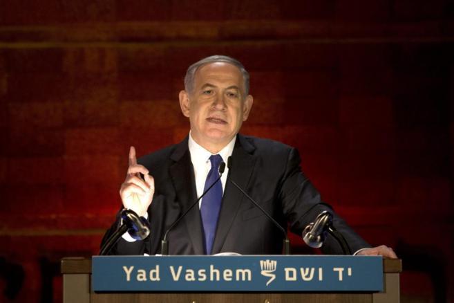 El primer ministro Netanyahu, en el Monumento al Holocausto Yad Vashm...