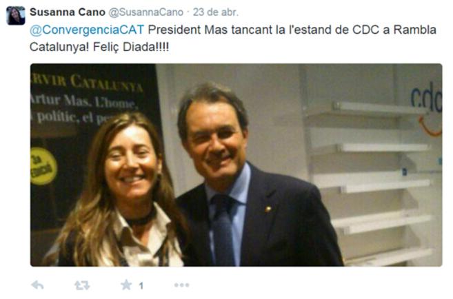 Cano, en una foto de su perfil de Twitter, acompañada del presidente...