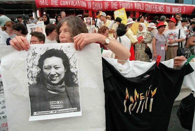 Activistas de Amnistía Internacional piden la liberación de Gao Yu,...