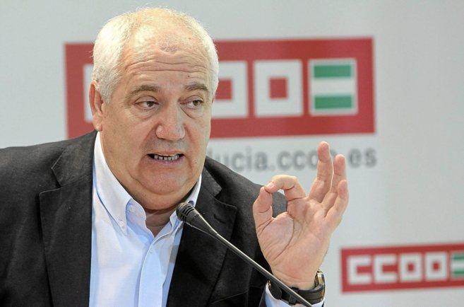 El líder de CCOO de Andalucía, Francisco Carbonero, durante una...