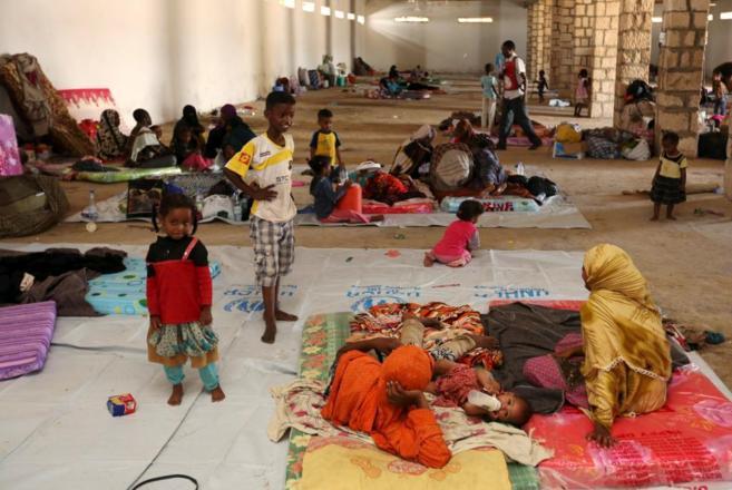 Familias yemeníes refugiadas en la ciudad somalí de Bosasso.
