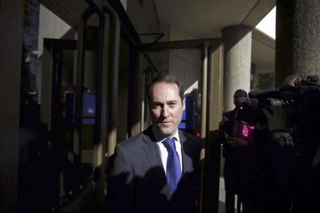 García Grande a su llegada este viernes a los juzgados para declarar...