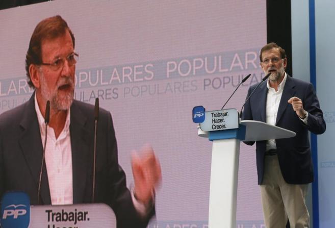Mariano Rajoy, durante su intervención en el acto del PP en Alicante.