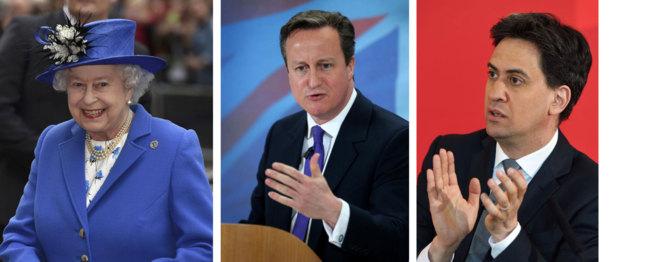 La Reina Isabel II y los candidatos Cameron y Miliband.