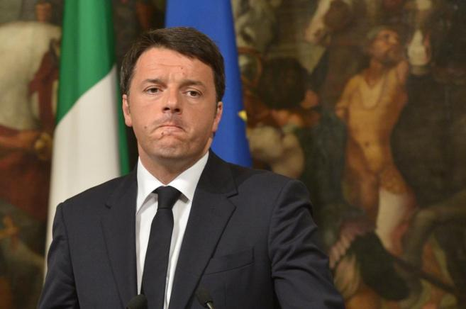 El primer ministro italiano Matteo Renzi en la rueda de prensa de hoy,...