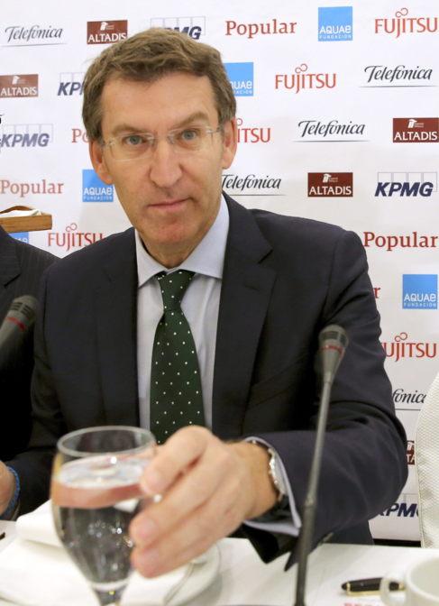 El presidente de Galicia, Alberto Núñez Feijóo, durante un desayuno...
