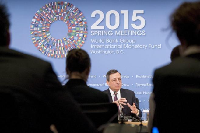 El presidente del BCE, Mario Draghi, en la rueda de prensa del sábado...
