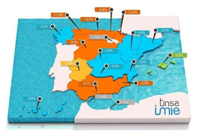 Mapa de precios por comunidades autónomas elaborado por la compañía...