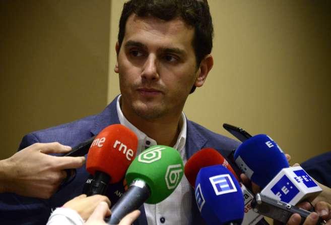 Albert Rivera, en una comparecencia ante los medios de comunicación.