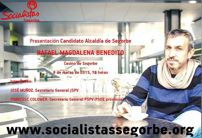 Cartel electoral del candidato del PSOE de Segorbe y militante del PP.