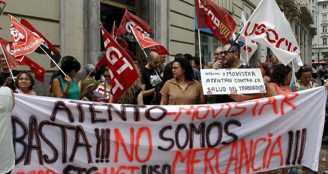 Protesta de trabajadores de Atento y Movistar