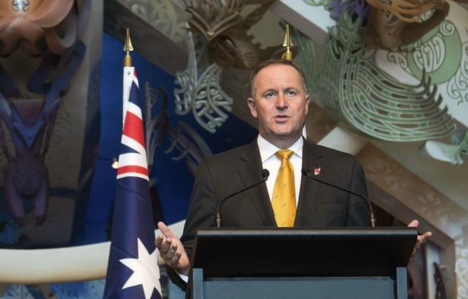 El primer ministro de Nueva Zelanda, John Key, durante una rueda de...