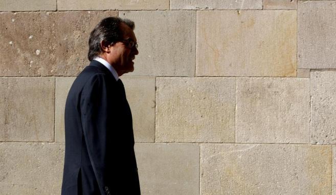 El presidente catalán Artur Mas en las inmediaciones del Palau de la...