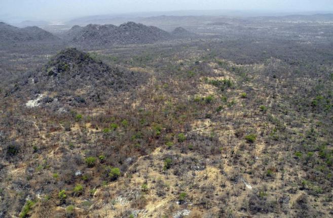 Vista aérea de una de las zonas en las que el ejército nigeriano ha...